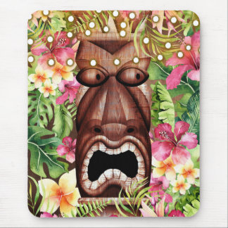 Wooden Hawaiian Tiki Luau Island Summer Floral Mouse Pad