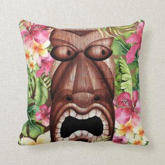 Wooden Hawaiian Tiki Luau Island Summer Floral Throw Pillow