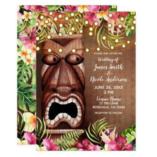 Wooden Hawaiian Tiki Luau Summer Beach Wedding Card