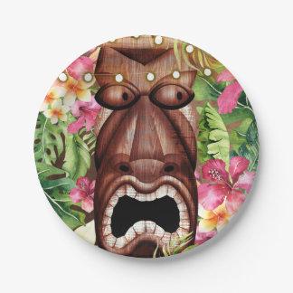 Wooden Hawaiian Tiki Luau Summer Birthday Party Paper Plate
