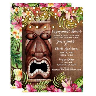 Wooden Hawaiian Tiki Luau Summer Engagement Shower Card