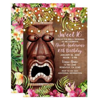 Wooden Hawaiian Tiki Luau Summer Sweet 16 Party Card