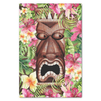 Wooden Hawaiian Tiki Luau Summer Tropical Party Tissue Paper