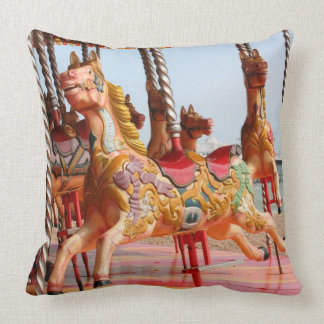 Wooden horse on vintage fairground roundabout throw pillow