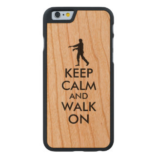 Wooden iphone Case Keep Calm Walking Zombie Custom