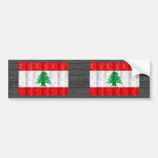 Wooden Lebanese Flag Bumper Sticker