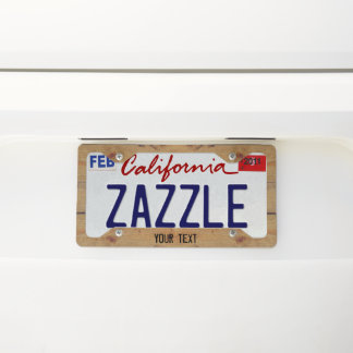 """""""Wooden"""" License Plate Frame with your Text"""