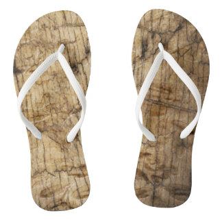 Wooden Look Flip Flops