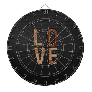 Wooden Love Typography Image Print Dartboard