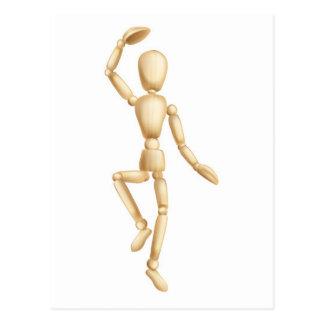 Wooden man dancing postcard