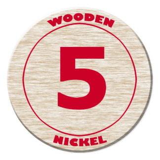 Wooden Nickel Round Cutout Card
