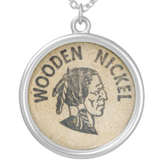 Wooden Nickel Silver Plated Necklace