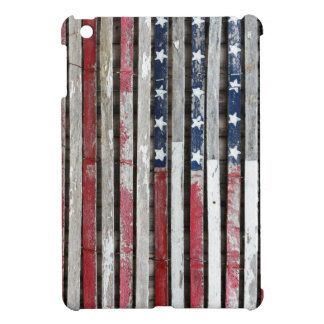 Wooden Painted American Flag Artwork Case For The iPad Mini