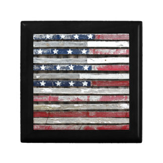Wooden Painted American Flag Artwork Gift Box