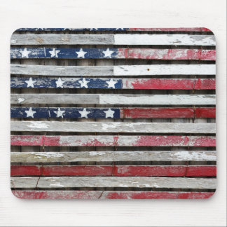Wooden Painted American Flag Artwork Mouse Pad
