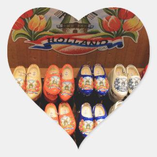 Wooden painted clogs, Holland 2 Heart Sticker