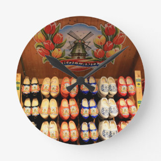 Wooden painted clogs, Holland 2 Round Clock