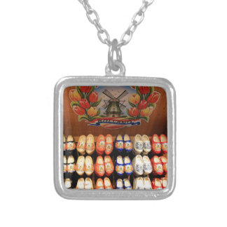 Wooden painted clogs, Holland 2 Silver Plated Necklace
