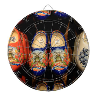 Wooden painted clogs, Holland Dartboard