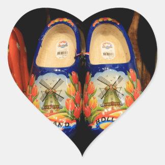 Wooden painted clogs, Holland Heart Sticker