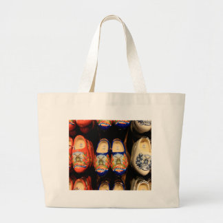 Wooden painted clogs, Holland Large Tote Bag