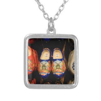 Wooden painted clogs, Holland Silver Plated Necklace