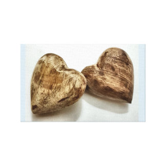 wooden pair of hearts. canvas print