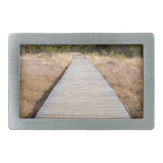 Wooden path in grass and forest winters landscape. belt buckles