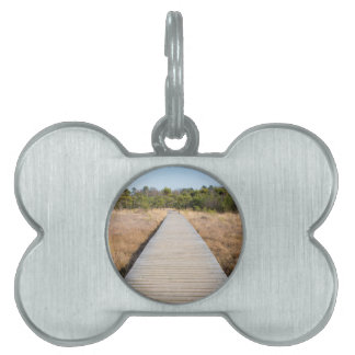 Wooden path in grass and forest winters landscape. pet tags