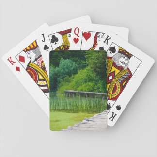 Wooden Path in the Forest in Plitvice Croatia Playing Cards