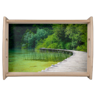 Wooden Path in the Forest in Plitvice Croatia Serving Platter