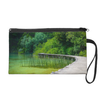 Wooden Path in the Forest in Plitvice Croatia Wristlet Clutches
