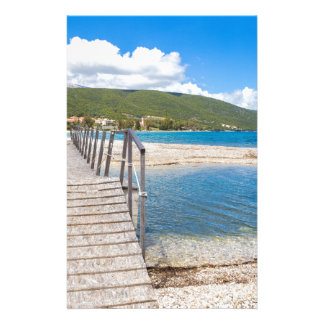 Wooden pedestrian bridge on greek beach stationery