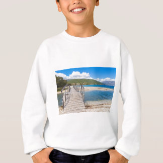 Wooden pedestrian bridge on greek beach sweatshirt
