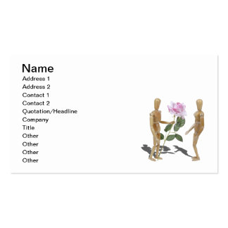 Wooden Person Giving Pink Rose Business Cards
