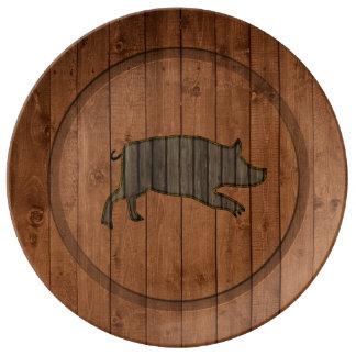 Wooden  Piggy Porcelain Plate