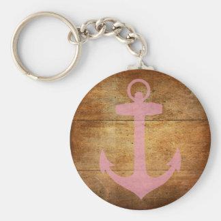 Wooden Pink Anchor Keychain