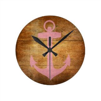 Wooden Pink Anchor Wall Clocks