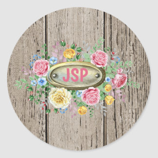 Wooden Planks with Fancy Monogram Classic Round Sticker