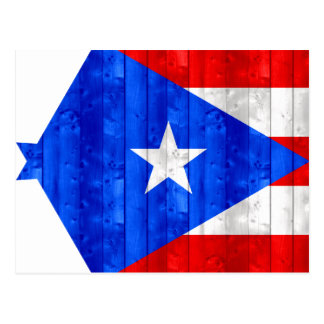 Wooden Puerto Rican Flag Postcard