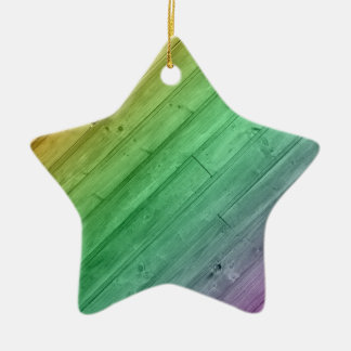 Wooden Rainbow Design Ceramic Star Ornament