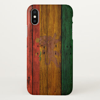 wooden reggae rasta flag lion music art iPhone x case