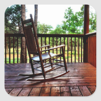 Wooden Rocking Chair on Porch Square Sticker