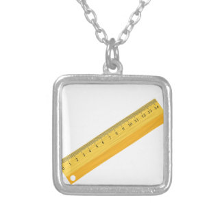 wooden ruler silver plated necklace