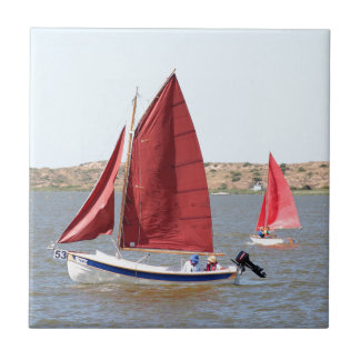 Wooden sail boat ceramic tile