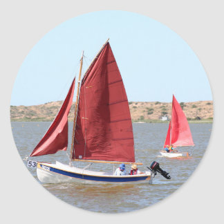 Wooden sail boat classic round sticker