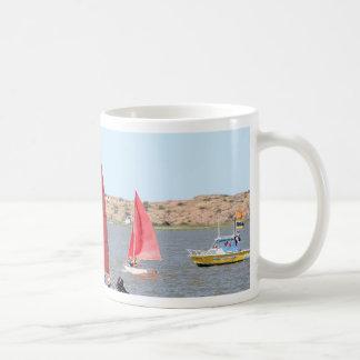 Wooden sail boat coffee mug