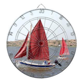 Wooden sail boat dartboard