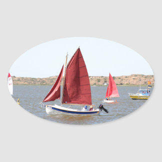 Wooden sail boat oval sticker
