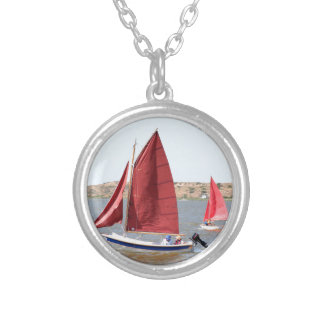 Wooden sail boat silver plated necklace